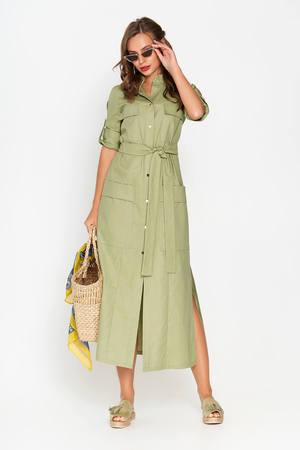 Хит продаж лета 2019! Трендовое,  льняное платье-рубашка прямого кроя!
